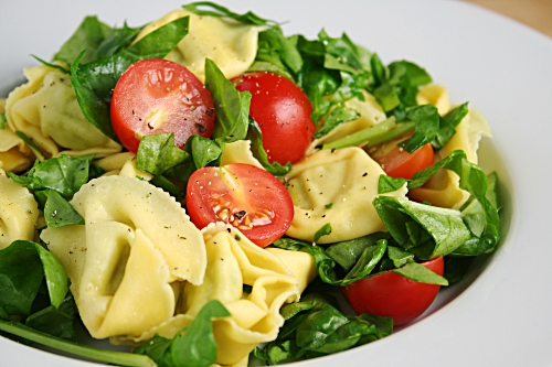 tortellini, baby spinach and cherry tomato salad